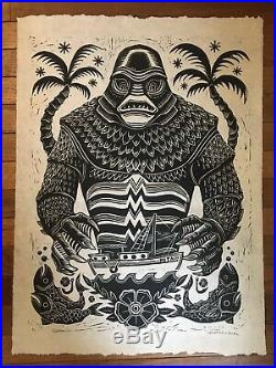 Attack! Peter Mondo Artist Creature From The Black Lagoon Linocut Lokta RARE