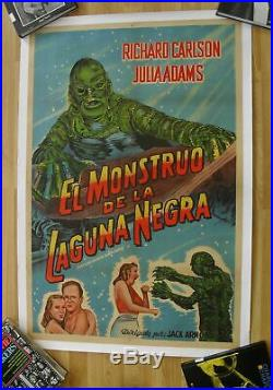 CREATURE FROM THE BLACK LAGOON horror original argentinean movie poster'54