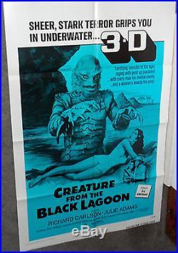 CREATURE FROM THE BLACK LAGOON original 1972 one sheet movie poster JULIE ADAMS
