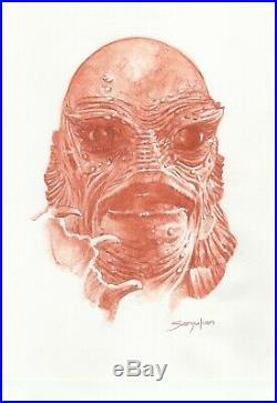 Creature From The Black Lagoon- Original Sanguine Drawing- Sanjulian hand signed