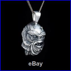 Creature from the Black Lagoon Horror Pendant, sterling silver, handmade