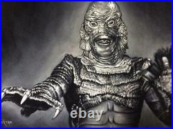 The creature from the black lagoon classic monsters black velvet oil painting
